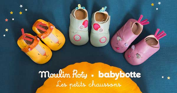 Babybotte et Moulin Roty fabriquent des chaussons de qualité pour les bébés.